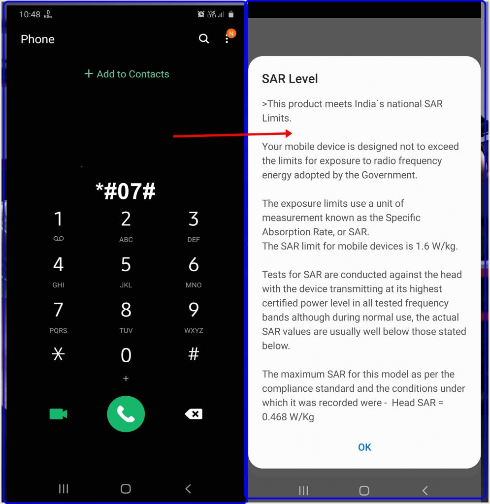 how to check SAR value in mobile