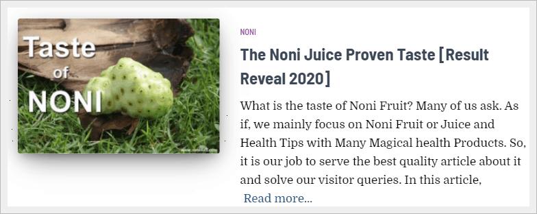 taste of noni juice
