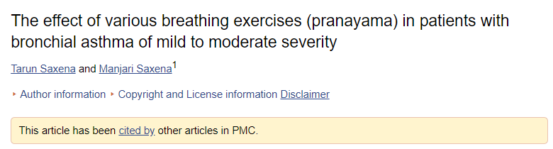 effect of various breathing exercises (pranayama) in asthma patients