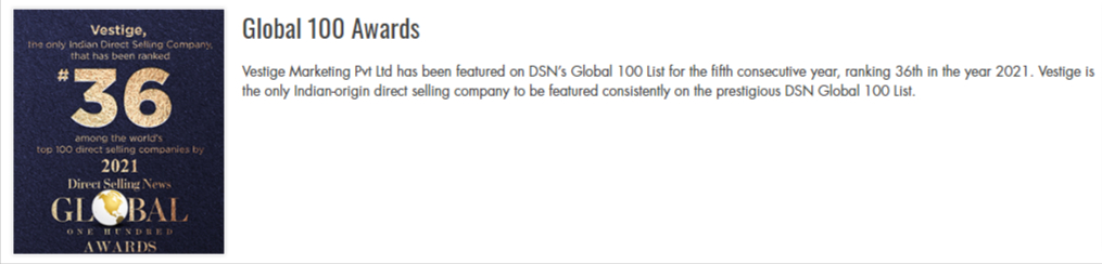 DSN Global 100 Awards