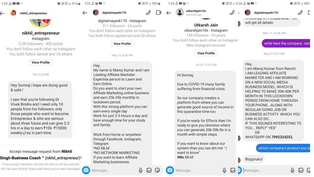 screenshot of bizgurukul affiliate marketing scam